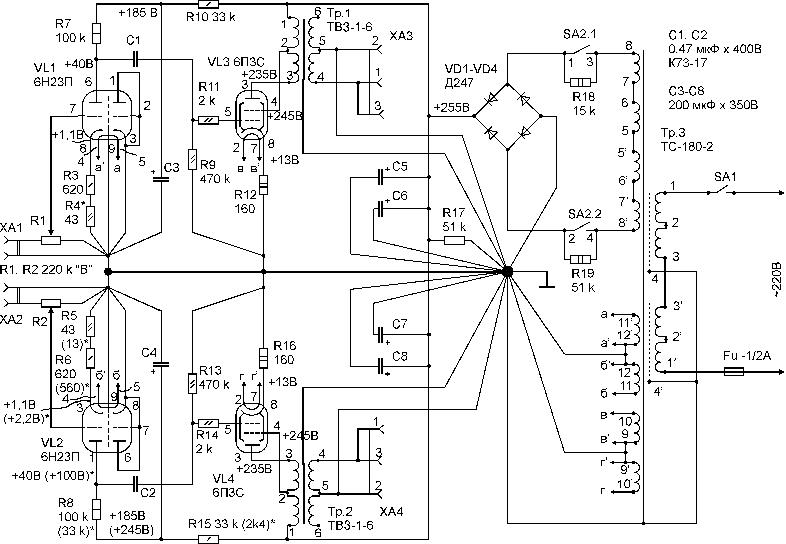Усилитель на 6П3С и унифицированных элементах.